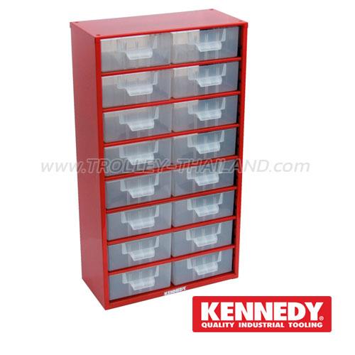 KEN-593-5200K กล่องเครื่องมือพลาสติกมีลิ้นชัก กล่องเก็บอะไหล่ (สีแดง) SERVICES CASES