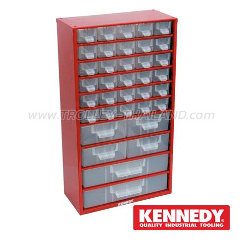 KEN-593-5300K กล่องเครื่องมือพลาสติกมีลิ้นชัก กล่องเก็บอะไหล่ (สีแดง) SERVICES CASES