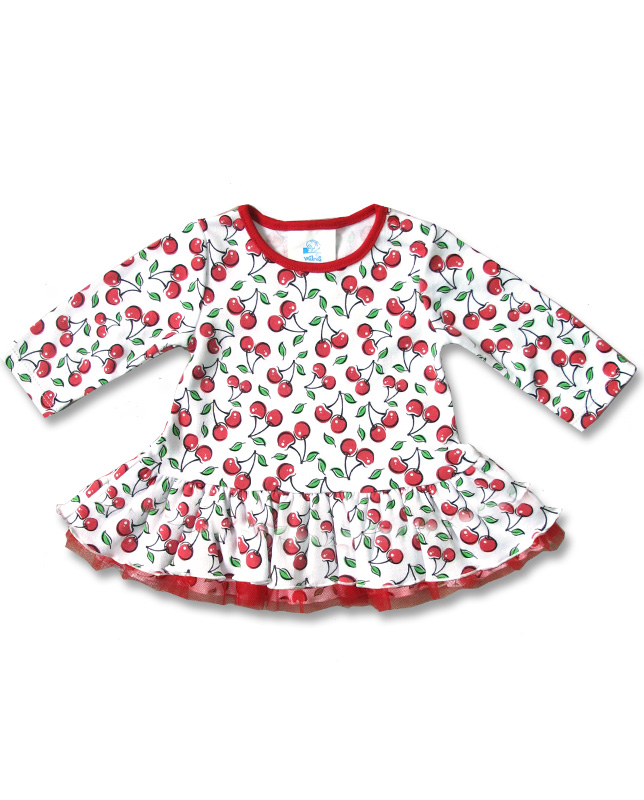 Six Bunnies CUTE CHERRIES long sleeve Baby Kleid