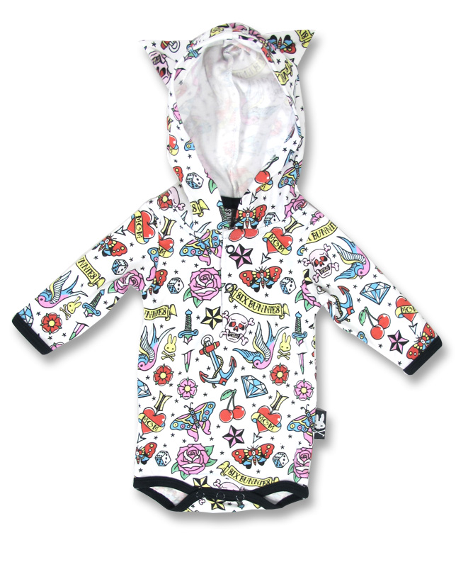 Six Bunnies CUTE FLASH - HOOD Baby Romper Hoodie