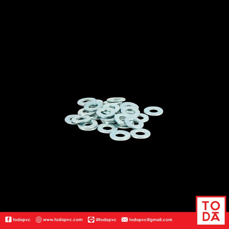 แหวนอีแปะ M8 ขอบ 16 ชุบขาว