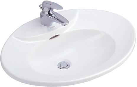 LW909 อ่างล้างหน้า แบบฝังบนเคาน์เตอร์ รุ่น ROYAL ELITE [สีขาว สีชมพูกุหลาบมอญ] - TOTO
