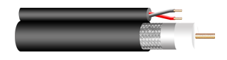 CCTV COAXIAL CABLE, RG-6/U, 95% SHIELD WTIH POWER FEED, ECONOMICAL DESIGN