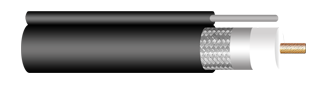 CCTV COAXIAL CABLE, RG-11/U, 95% SHIELD WITH MESSENGER, ECONOMICAL DESIGN