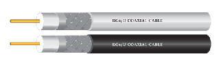 RG6/U COAXIAL CABLE  Shield 168 Line White and Black  Jacket