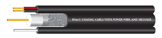 RG6/U  COAXIAL CABLE Shield 168  With Power wire and Messenger