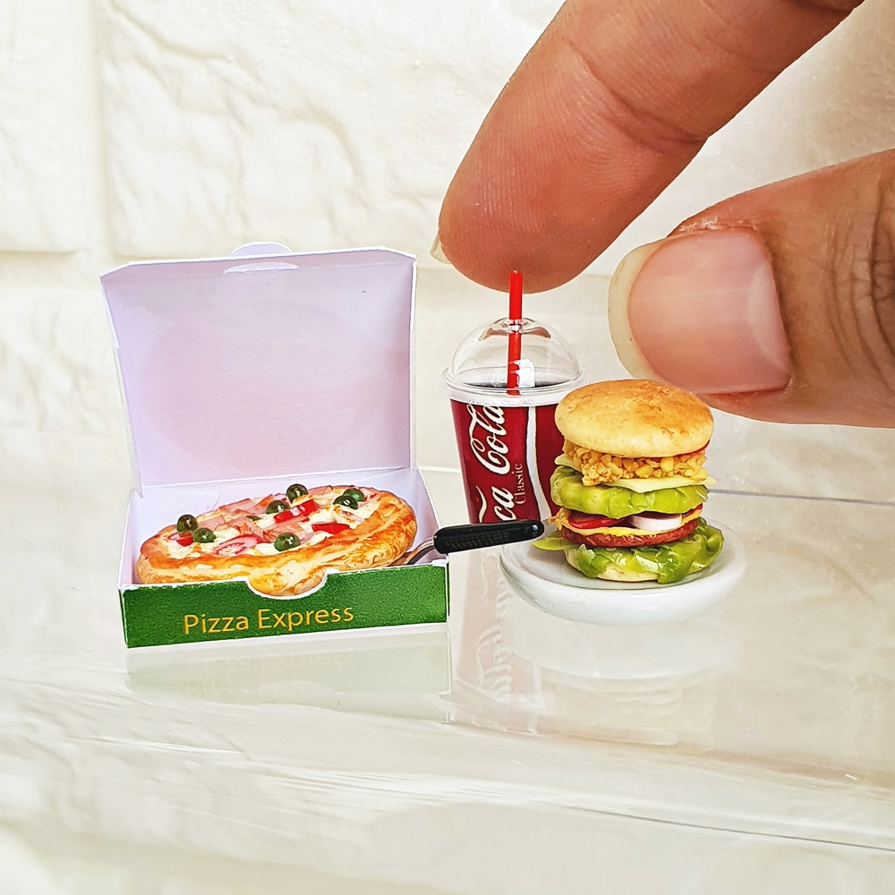 Dollhouse Miniatures Food Pizza Burger Fast Food Coca Cola Set