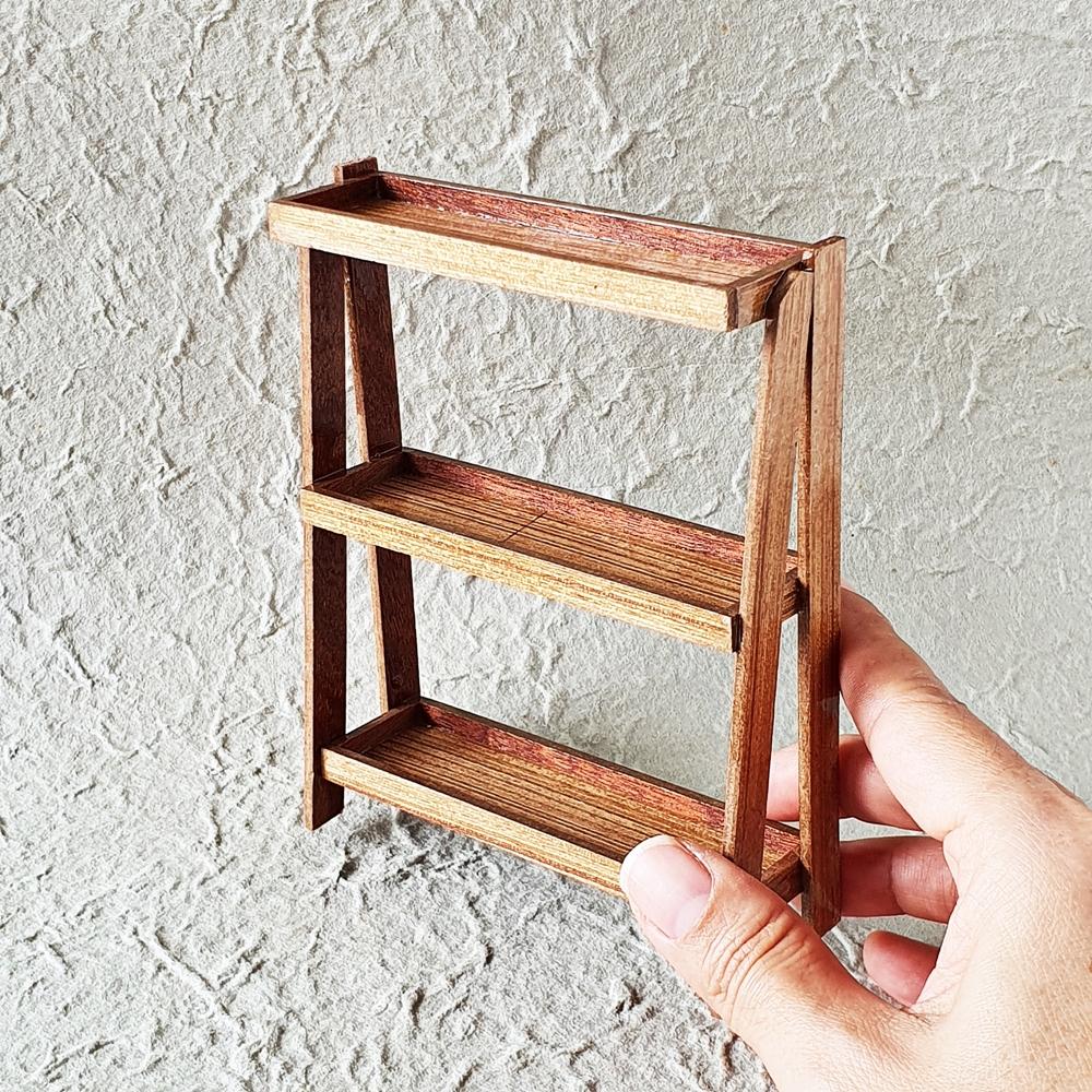 Dollhouse Miniature Wood Wooden Shelf  Furniture Bakery Display Decoration