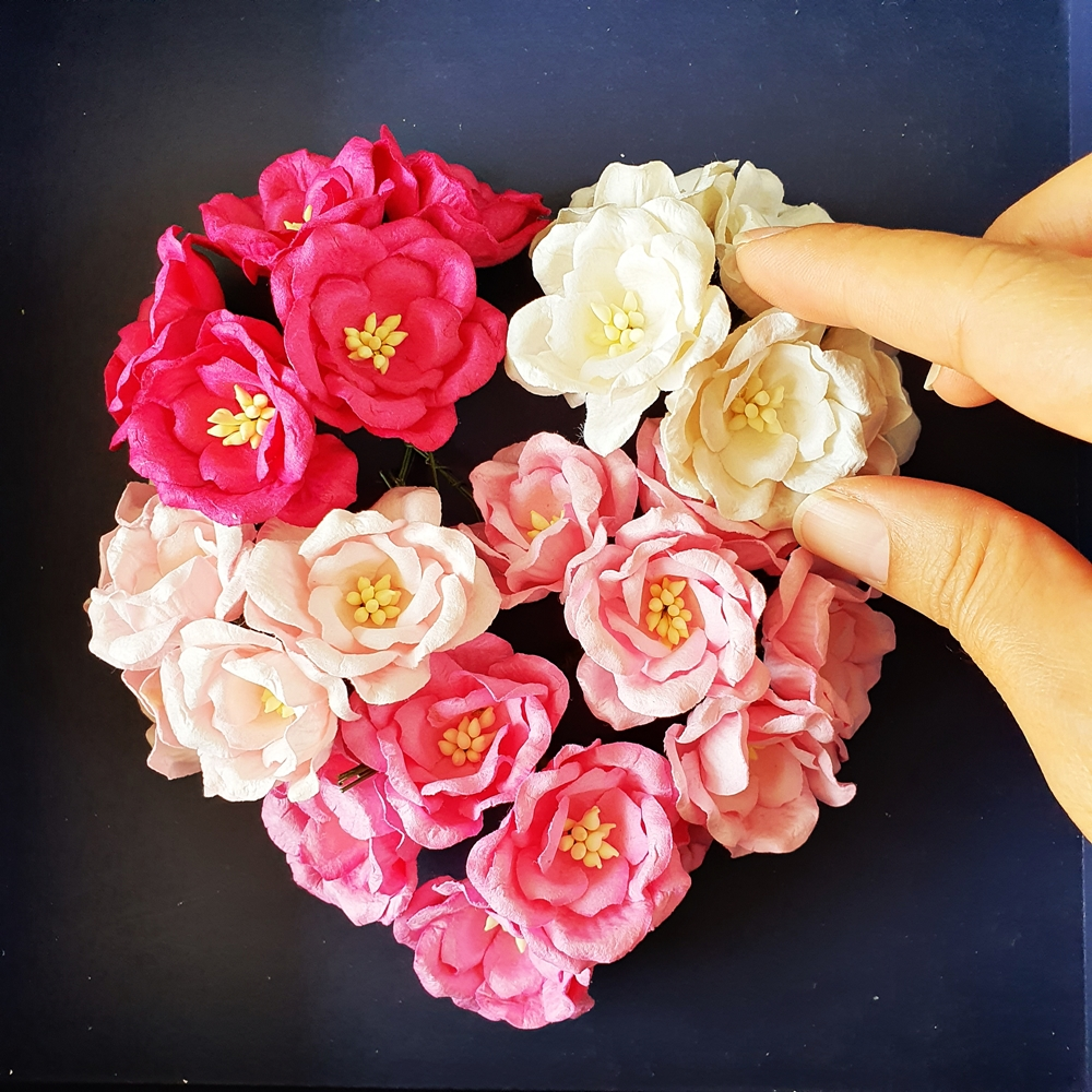 Mulberry Paper Flower for Handcrafted Wedding Card Scrapbooking