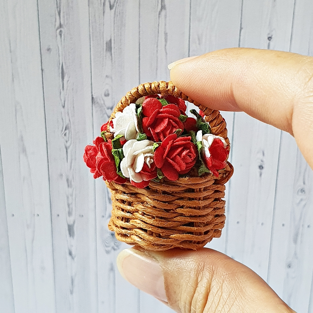 Dollhouse Miniatures Paper Flower in Rope Basket