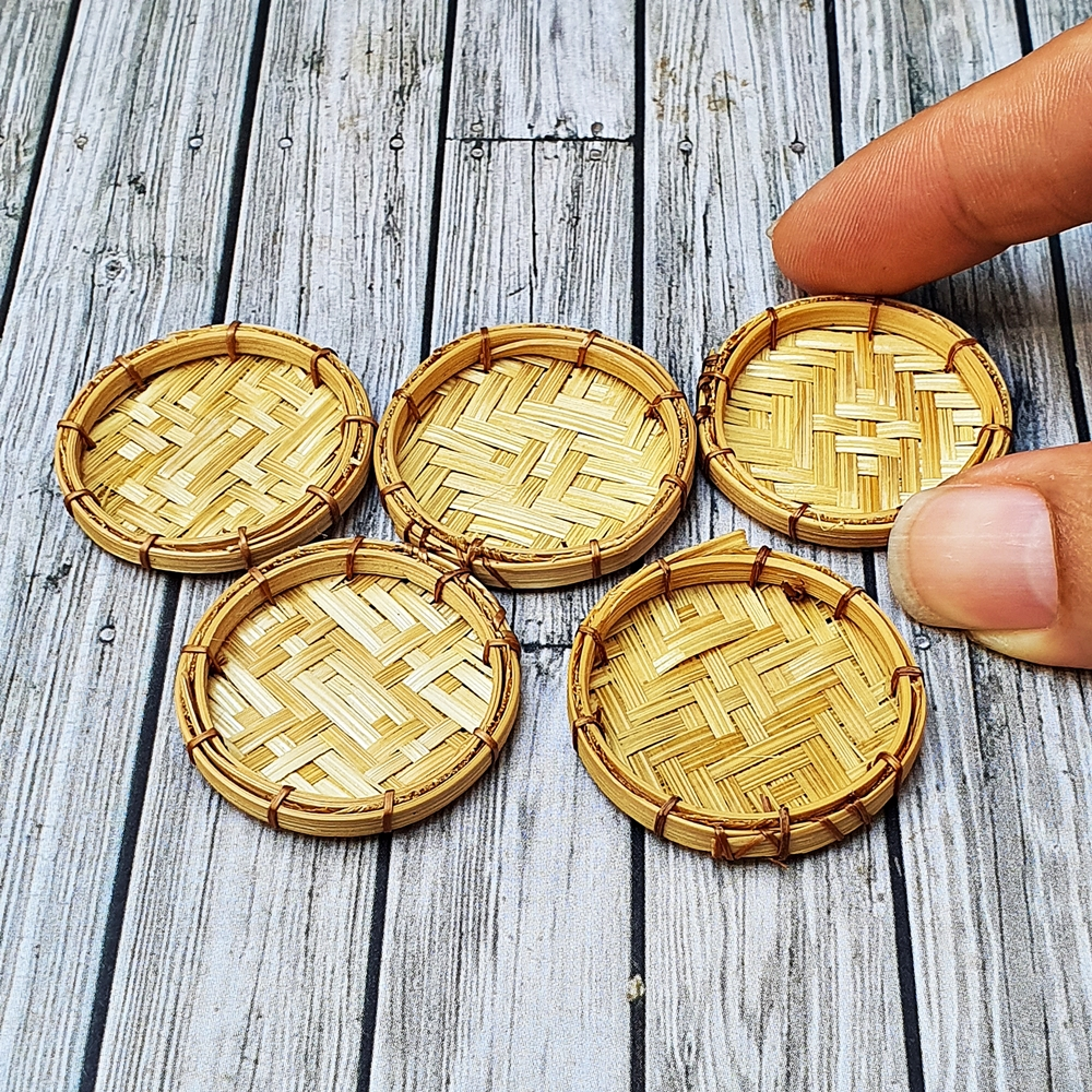 5x Round Bamboo Tray Dollhouse Miniatures Food Flower Bakery Supply Decoration