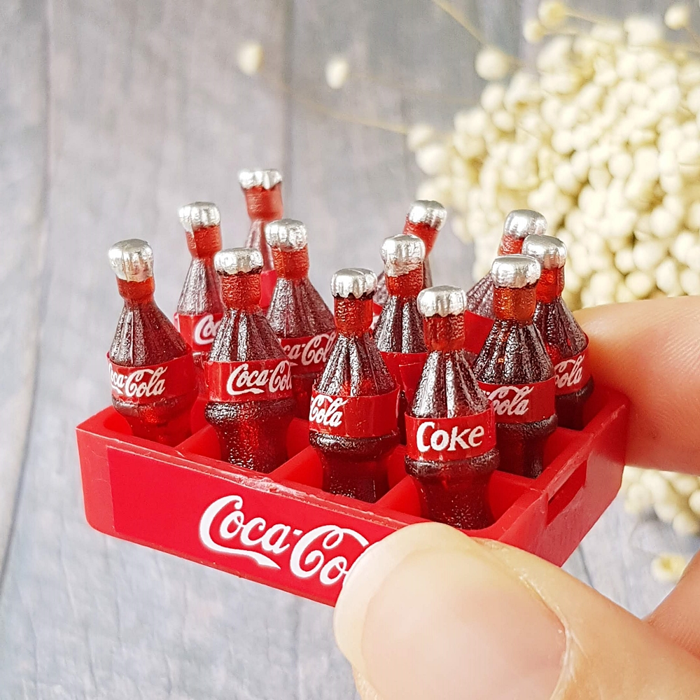 12 Coca Cola Bottles on Tray Dollhouse Miniatures Food Supply  Deco