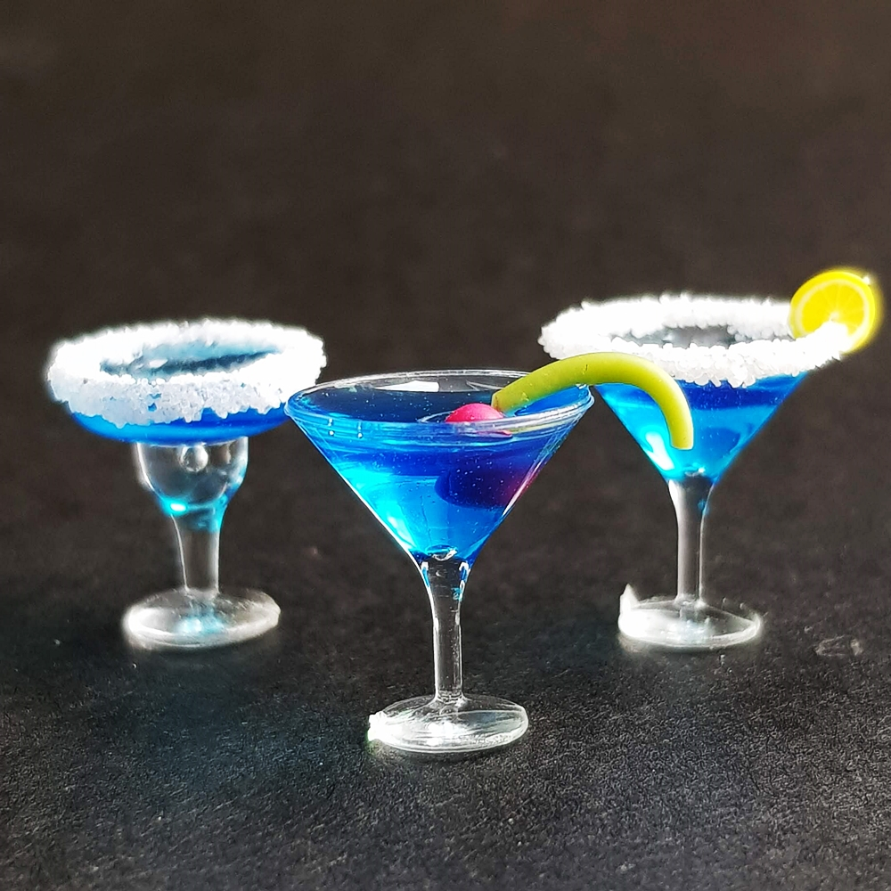 3x Blue Hawaii Cocktail Wine Champagne Cup Dollhouse Miniatures Drink Beverage
