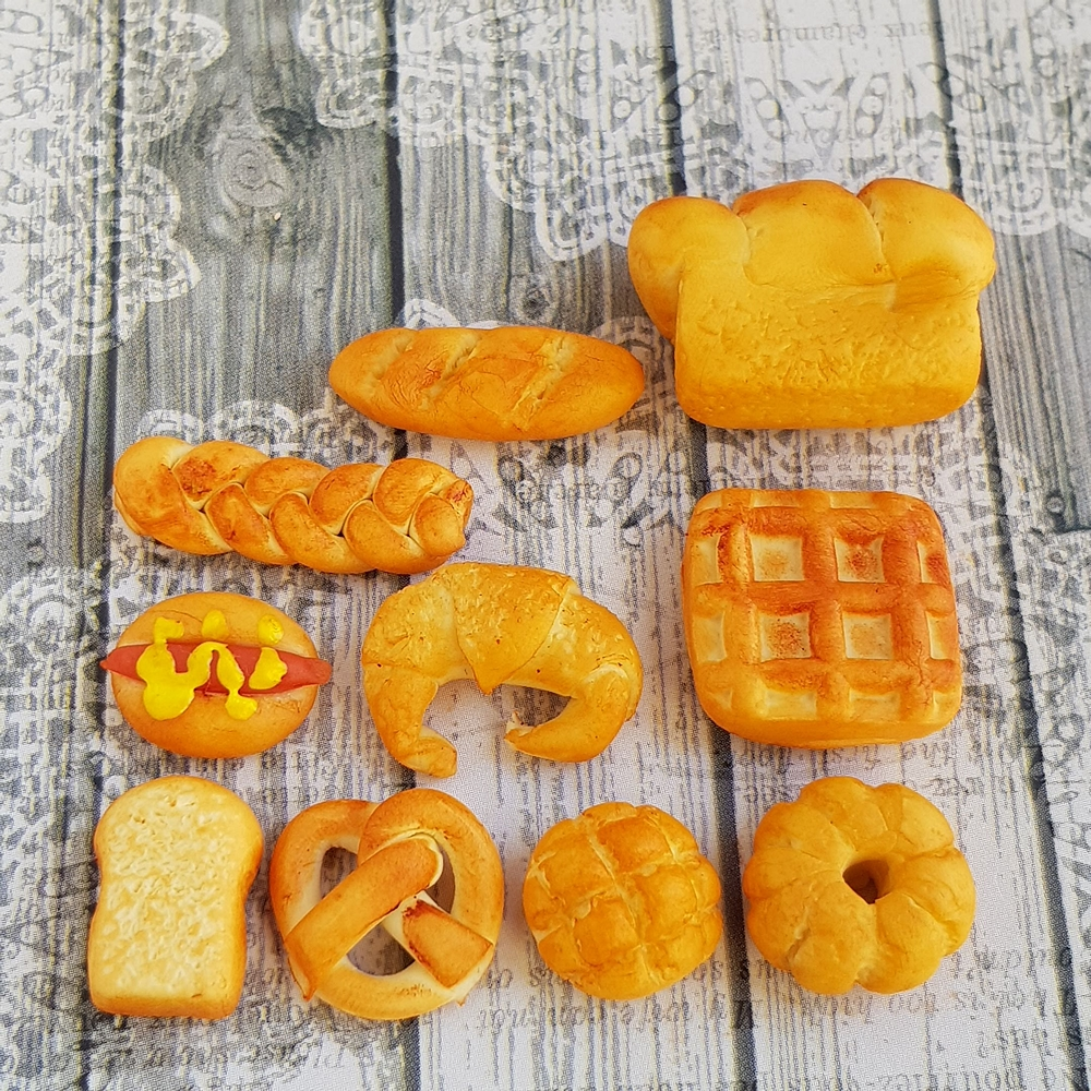 10x Mix Bread Loaf Croissant Baguettes Dollhouse Miniature Bakery Cafe Decoration Handmade