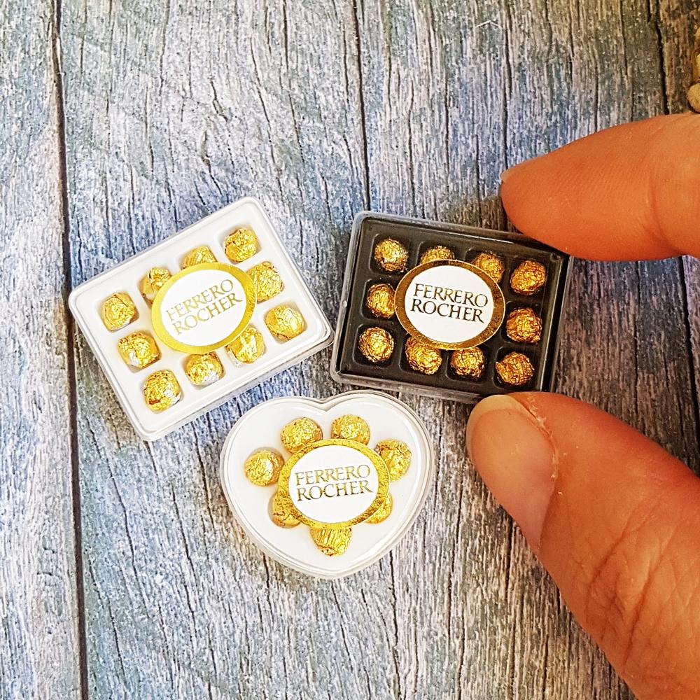 3x Box Of Chocolate Ferrero Rocher Dollhouse Miniatures Valentine's Day Gift