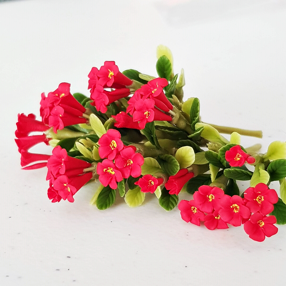 5x Red Mini Plumeria Clay Flowers Handmade Dollhouse Miniature Fairy Garden Decoration