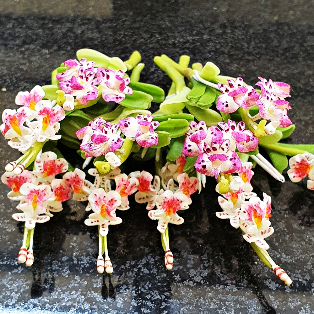 10x Orchid Clay Flowers Handmade Miniature Dollhouse Fairy Garden Decoration Collectibles Handcrafted