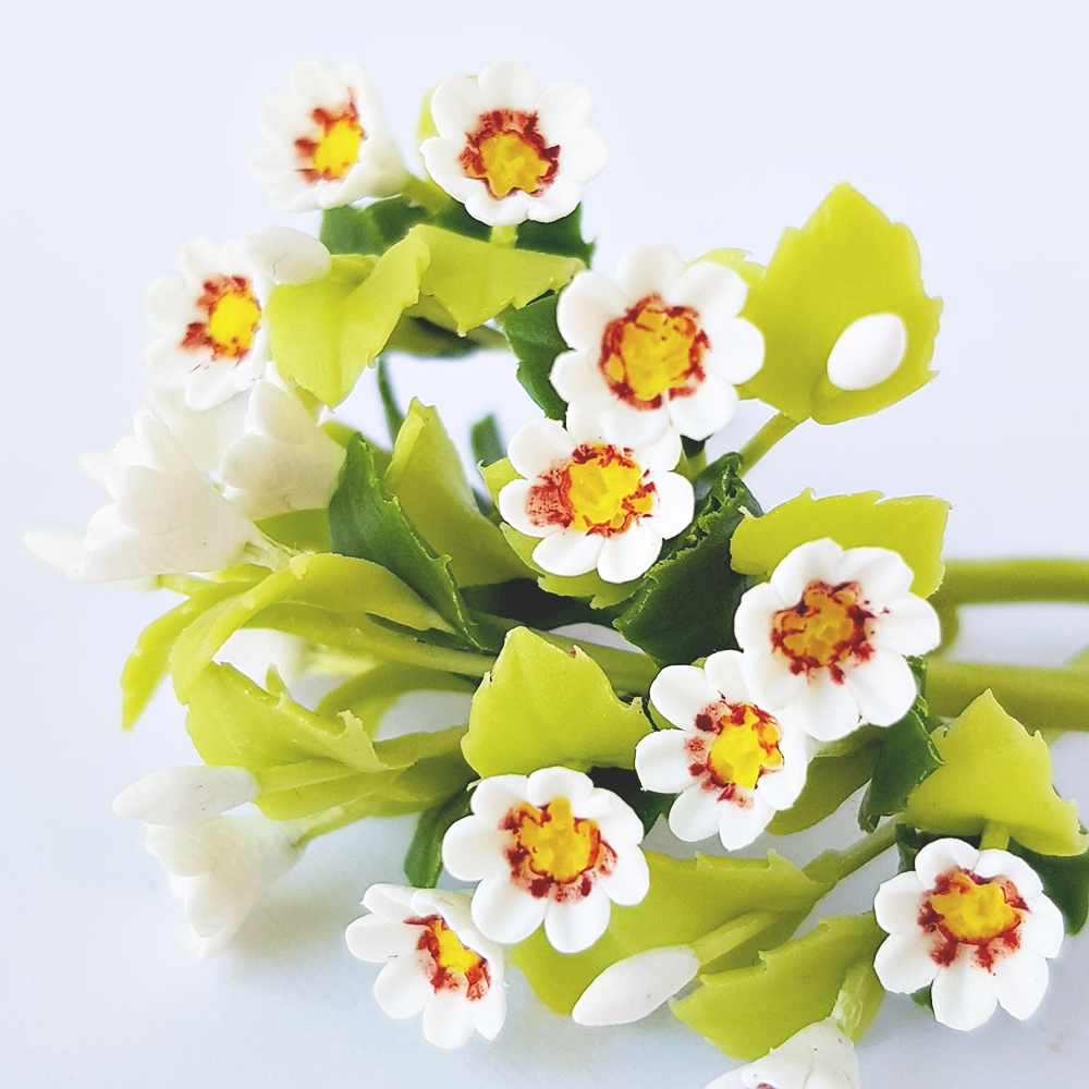 10x White Gazania Clay Flowers Handmade Miniature Dollhouse Fairy Garden Decoration Collectibles Gift Handcrafted