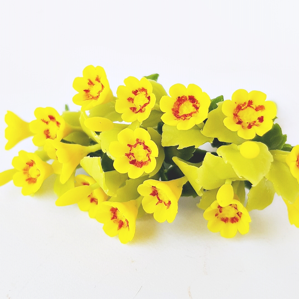 10x Yellow Gazania Clay Flowers Handmade Miniature Dollhouse Fairy Garden Decoration Collectibles Gift Handcrafted