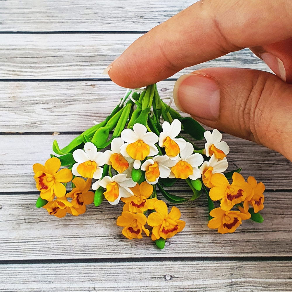 Dollhouse Miniatures Clay Flowers White Yellow Orchid Fairy Garden Decoration Handmade Collectibles