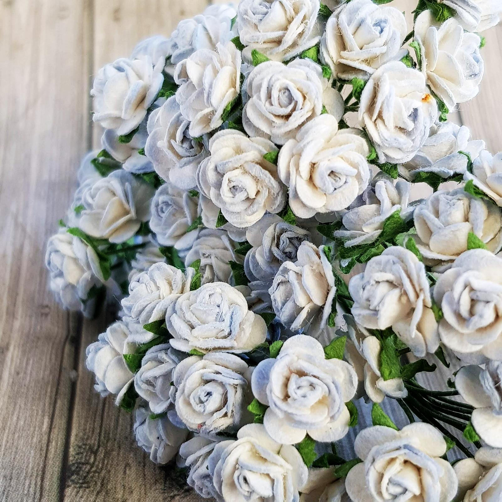 50x Light Blue Rose Mulberry Paper Flower Crafts Handmade Wedding Card Scrapbooking Miniature