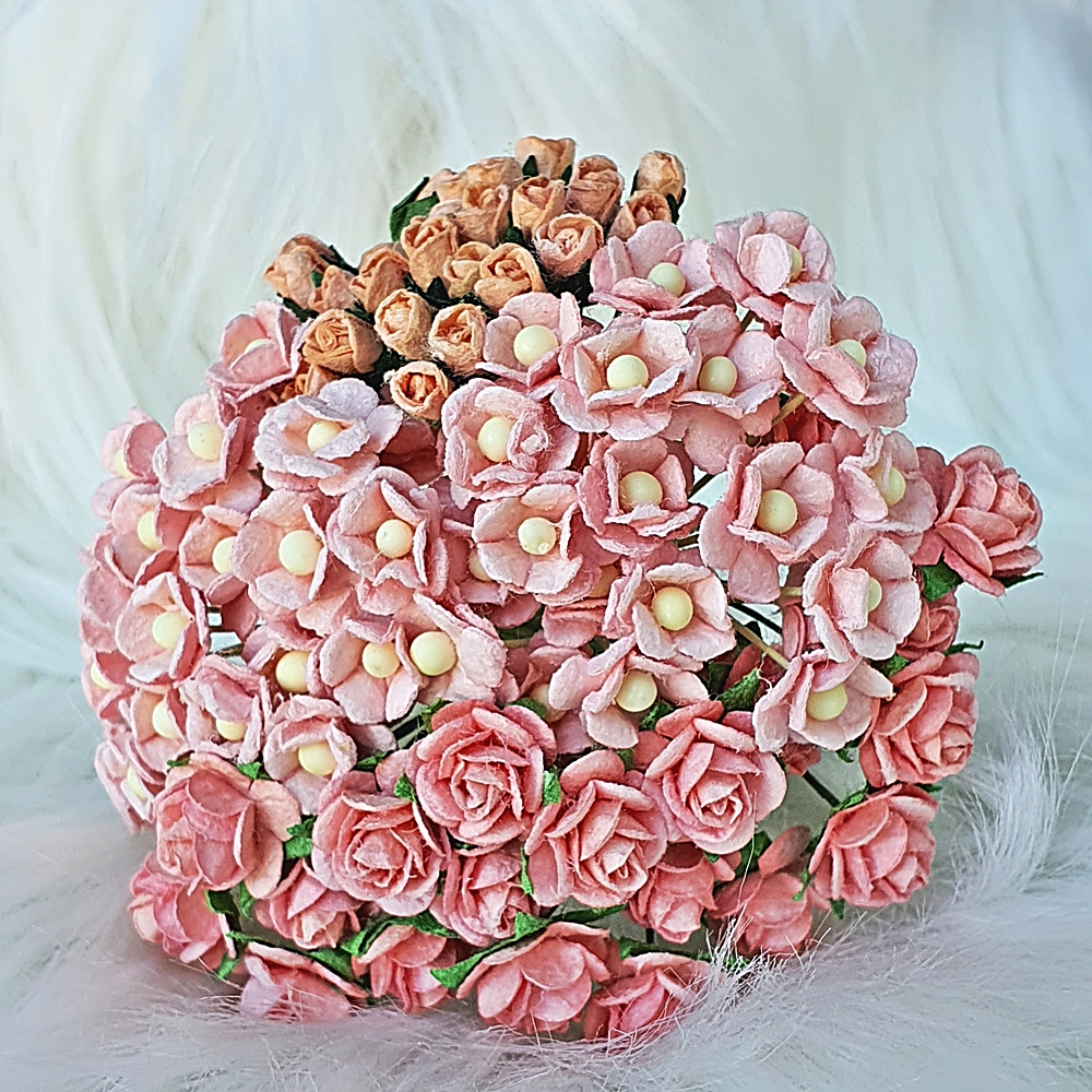 95 Mulberry Paper Flowers Pink Rose Headpiece Wedding Scrapbook Cards Basket Handcrafted Supply