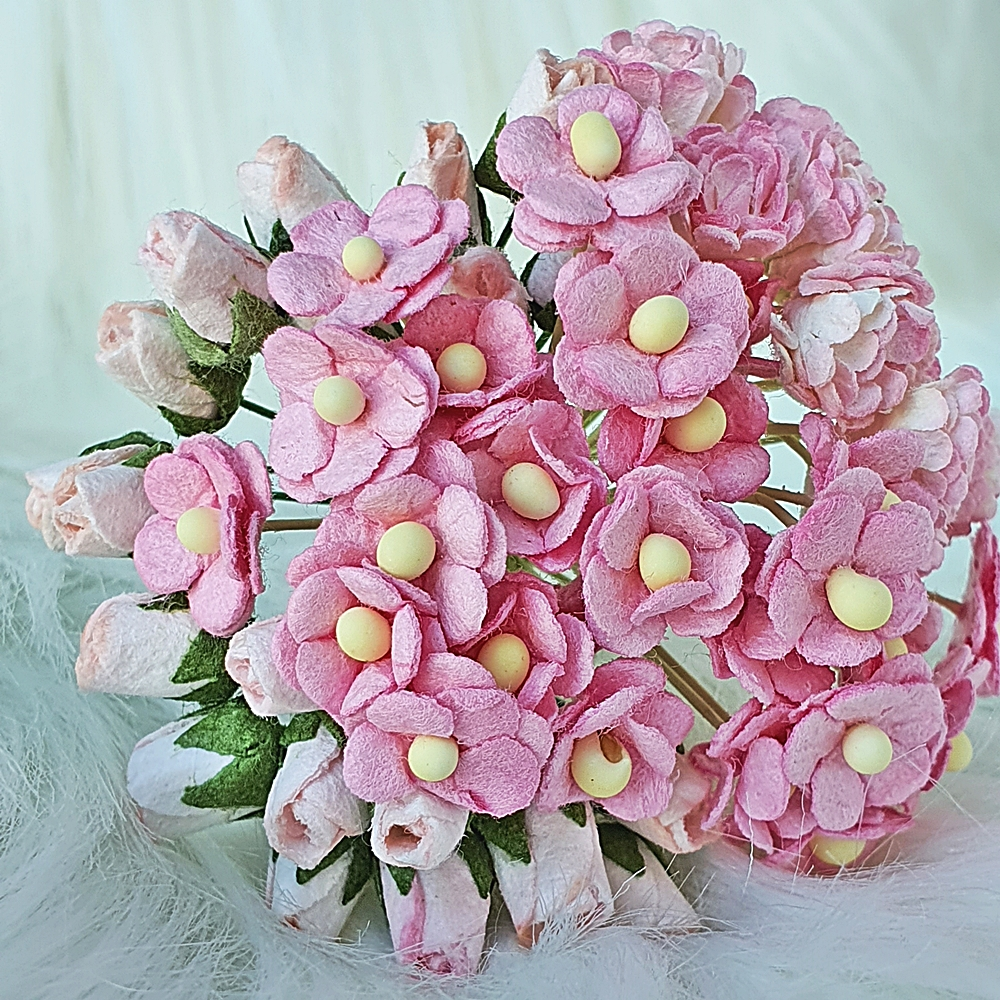 55 Mulberry Paper Flowers Pink Rose Headpiece Wedding Scrapbook Cards Basket Handcrafted Supply