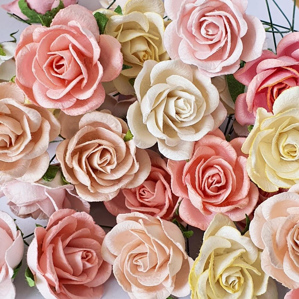 5x Rose Mulberry Paper Flower Crafts Handmade Wedding Card Scrapbooking Miniature Handcrafted(copy)