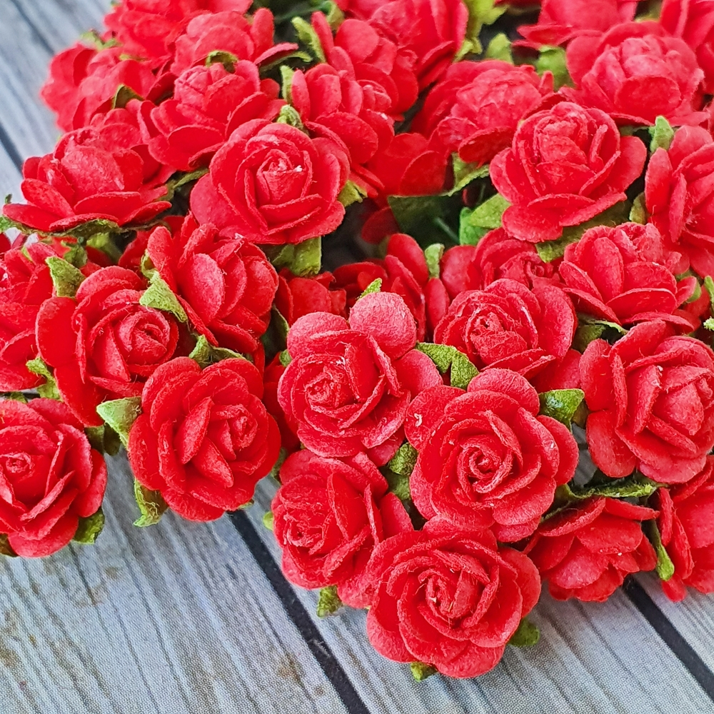100x red rose mulberry paper flower crafts handmade