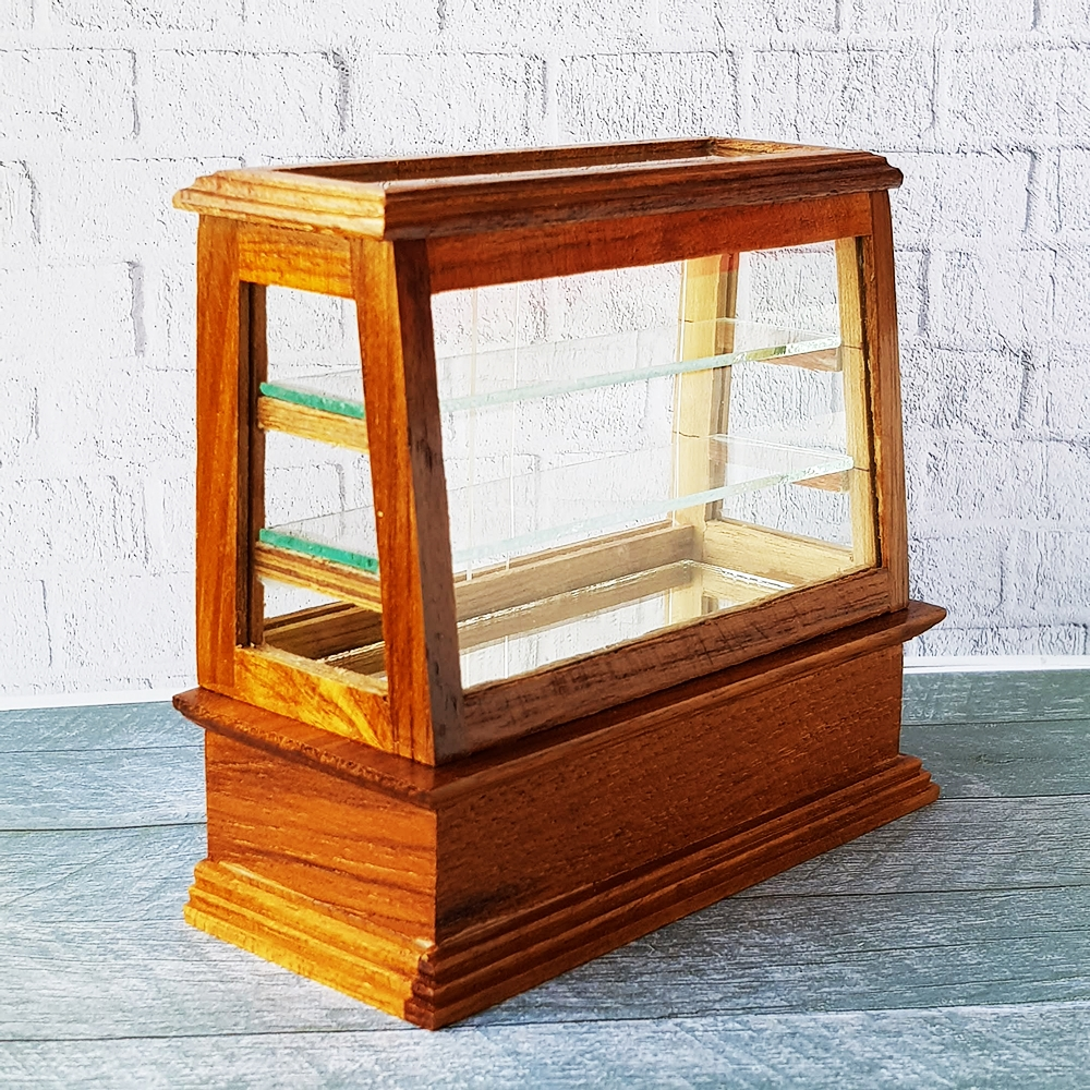 Dollhouse Miniature Wooden Wood Cabinet Shelving Cake Bread Bakery Display