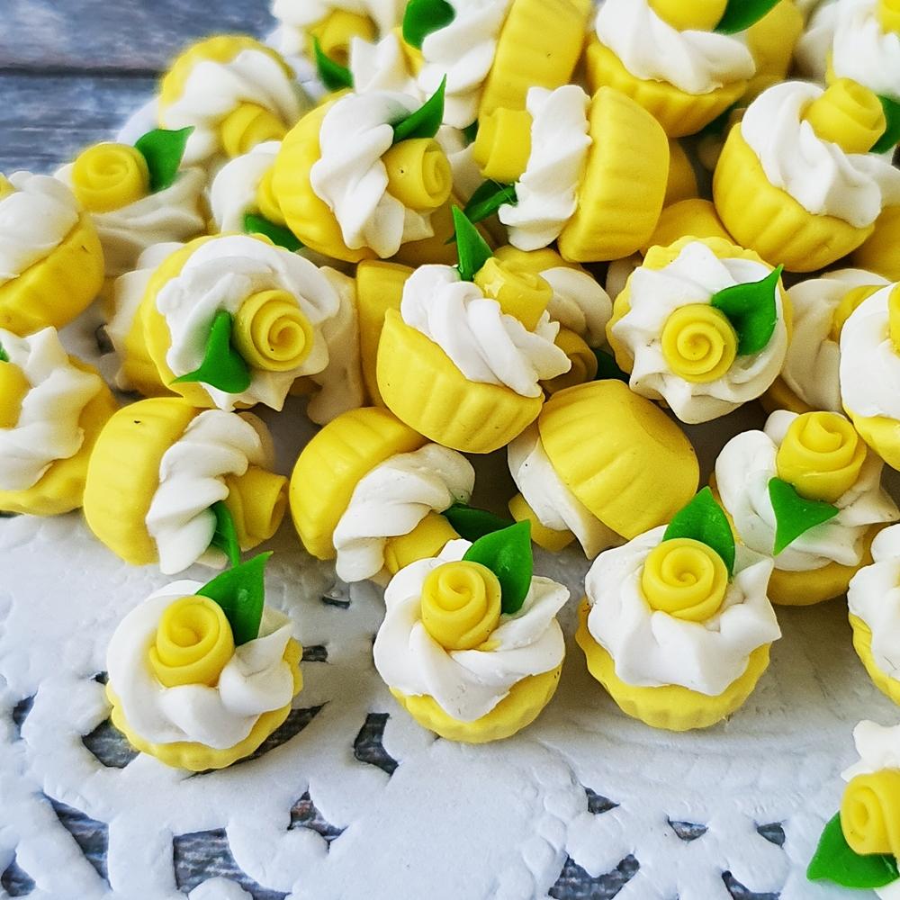 Dollhouse Miniatures Bakery Yellow Rose Cupcake Loose Valentine Gift Decor Lot x10