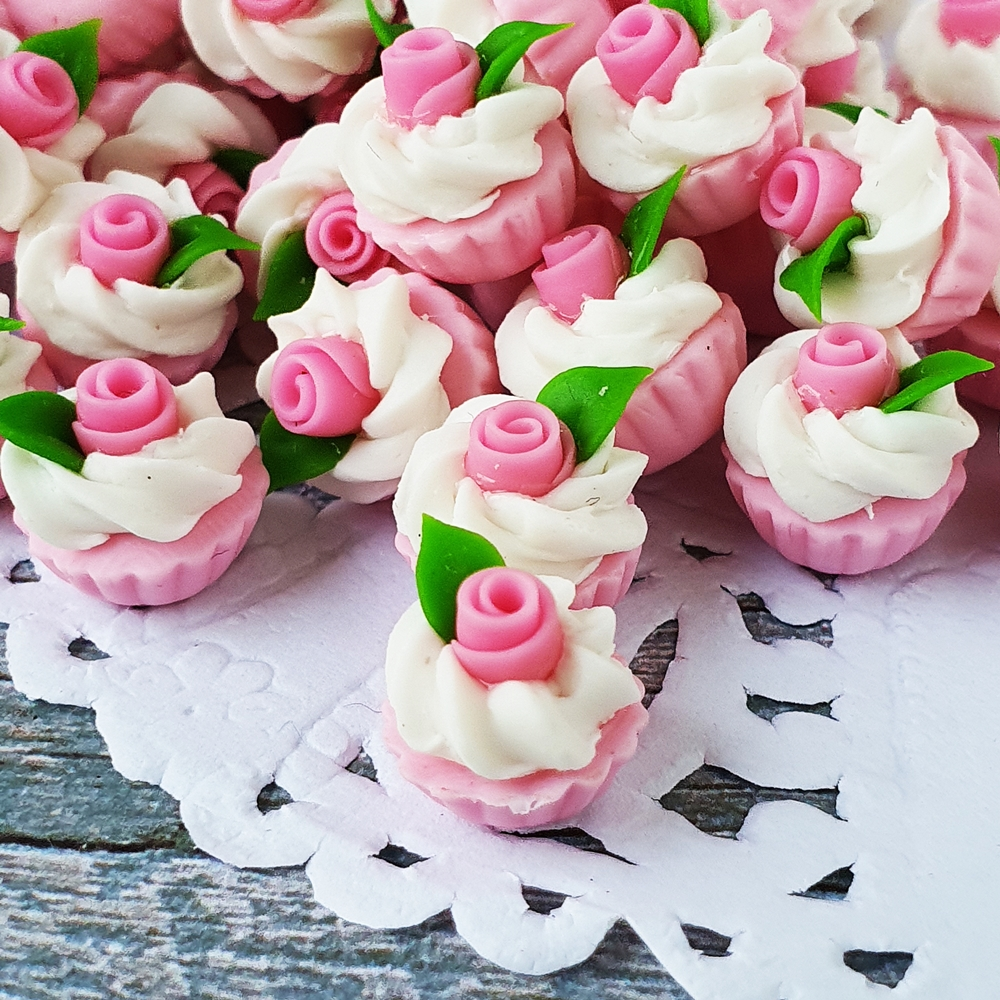 Dollhouse Miniatures Bakery Pink Rose Cupcake Loose Valentine Gift Decor Lot x10