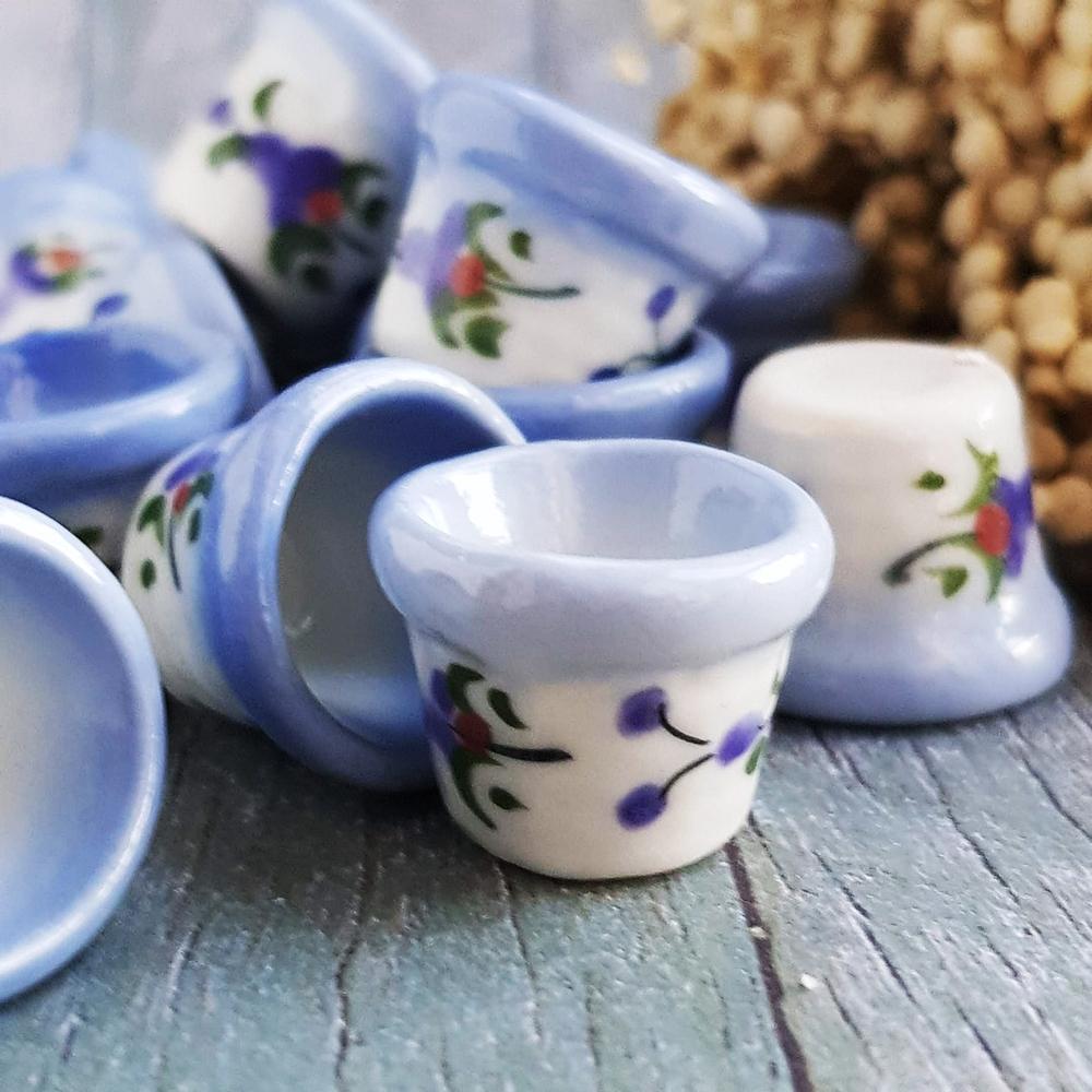 5x Ceramic Hand Painted Round Pots Dollhouse Miniatures Fairy Garden Decoration Collectibles