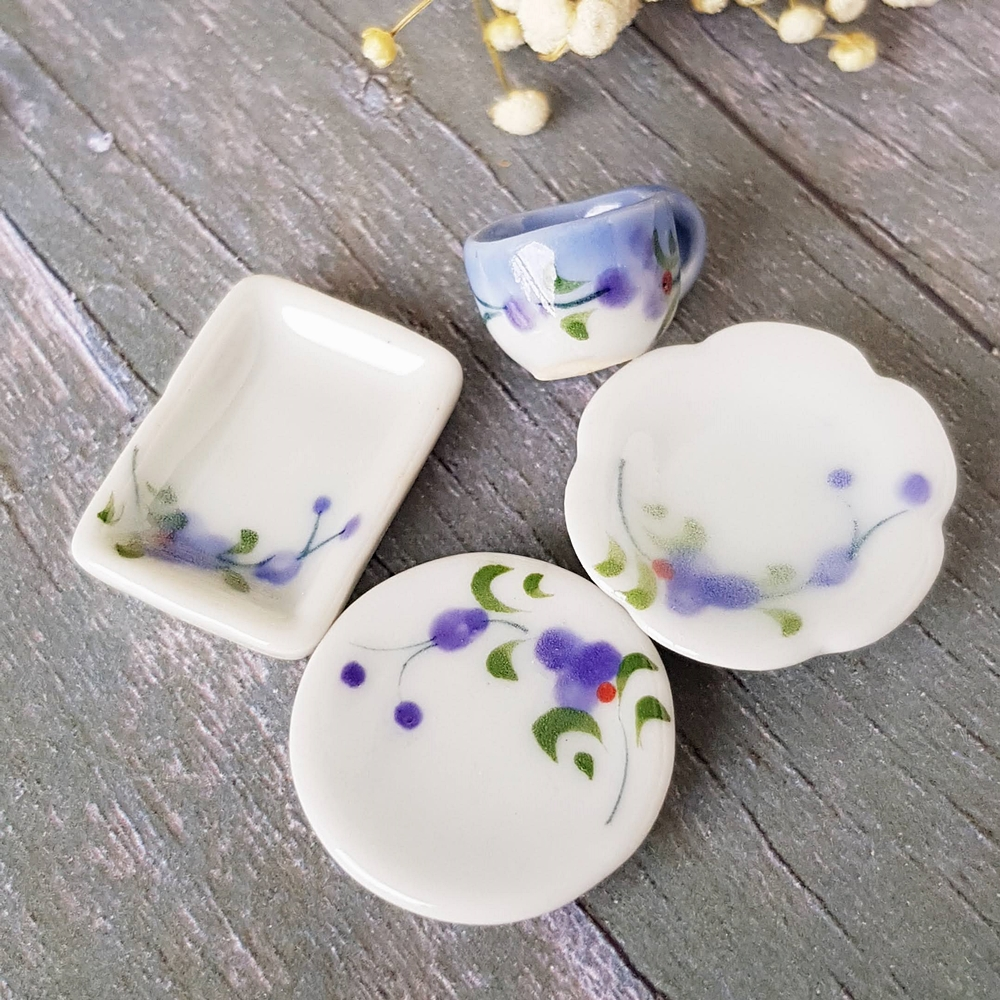 Dollhouse Miniatures Tableware Ceramic Plate Dish Set