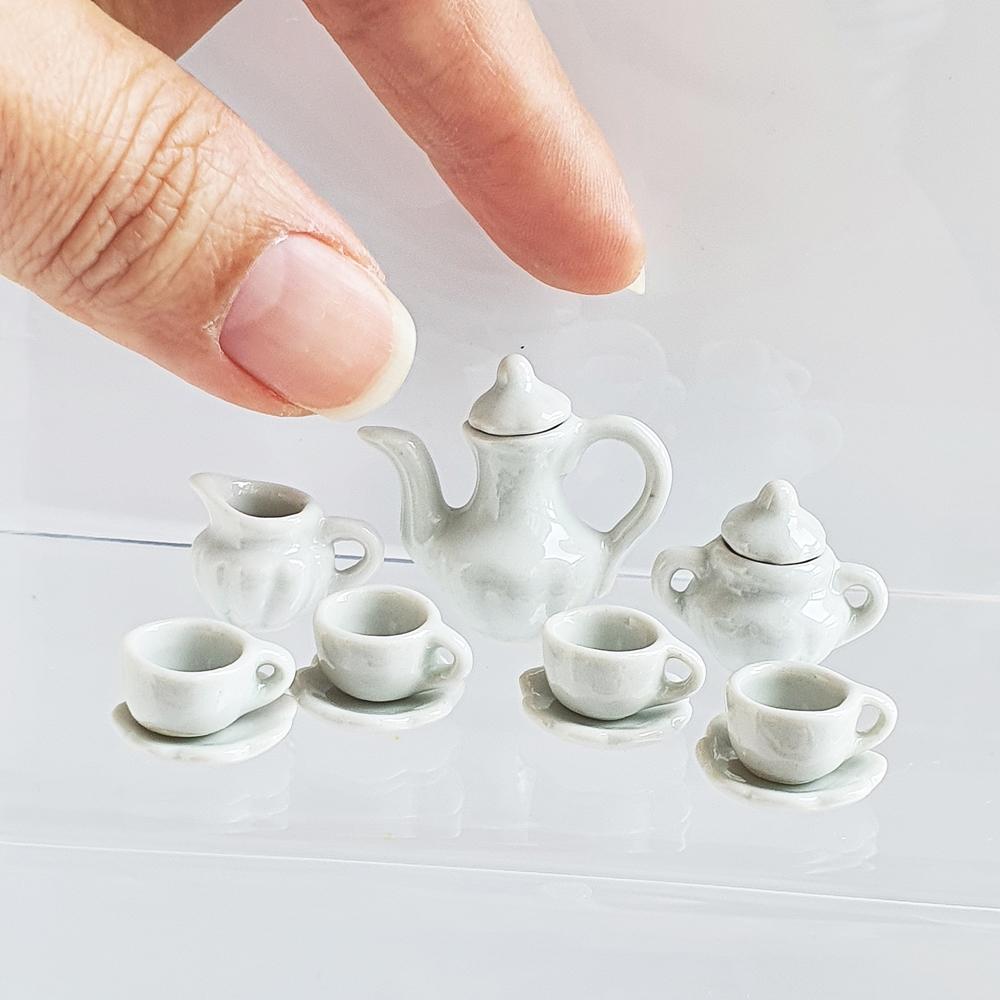 Dollhouse Miniatures Ceramic Tableware Coffee Tea Cup Set White Kitchen Decoration