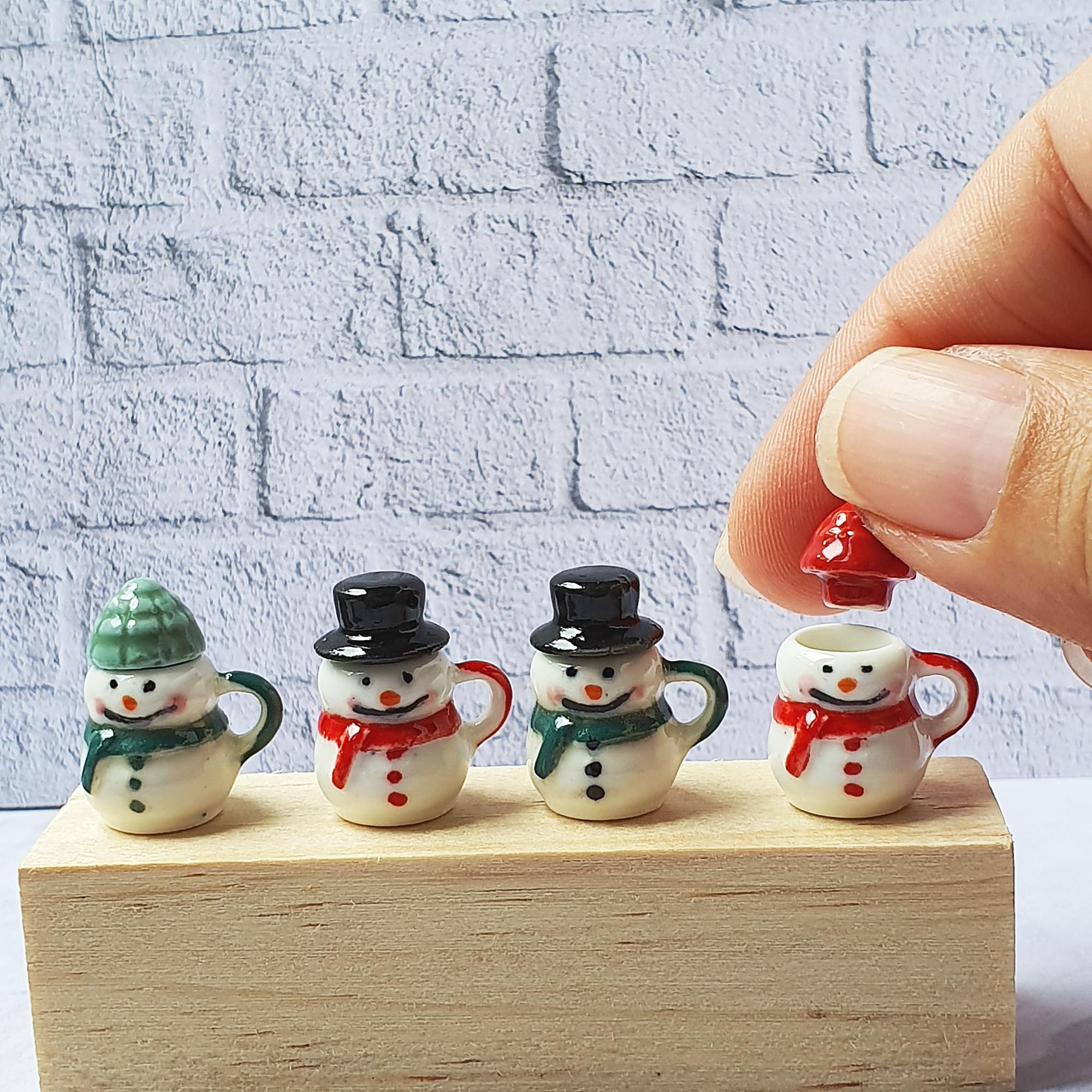 Dollhouse Miniatures Ceramic Snowman Mug Tiny Doll  Christmas Gift Mini Figure Toy