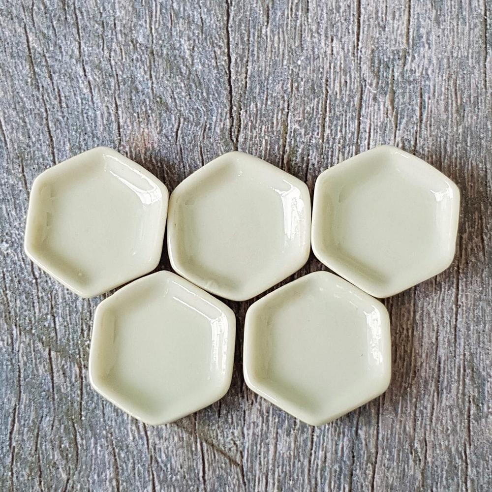 5x15mm Ceramic White Hexagon Dish Plate Dollhouse Miniatures Food Supply Kitchen