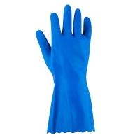 ถุงมือผ้า PVC สีฟ้า