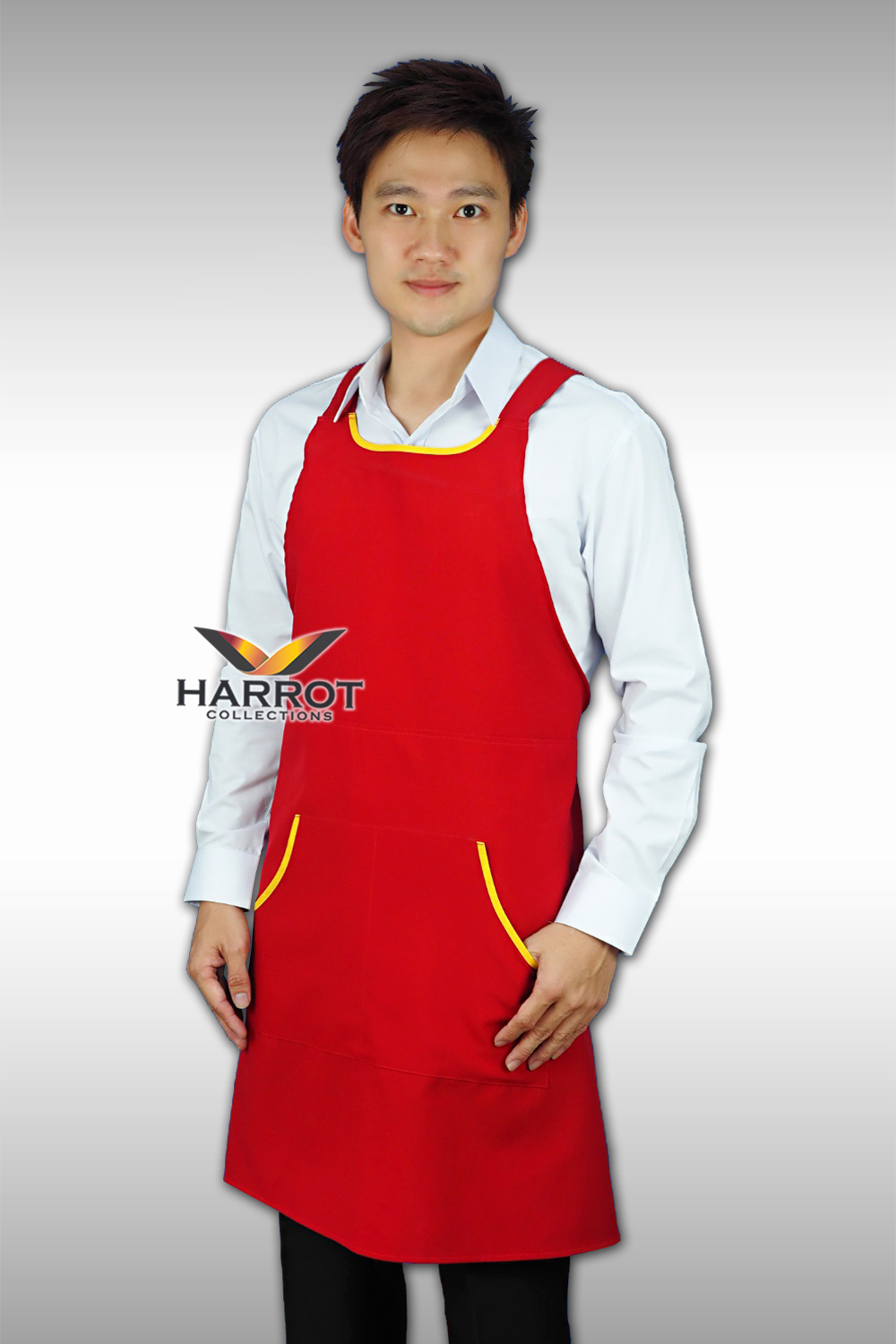 YELLOW PIPING- RED FULL APRON