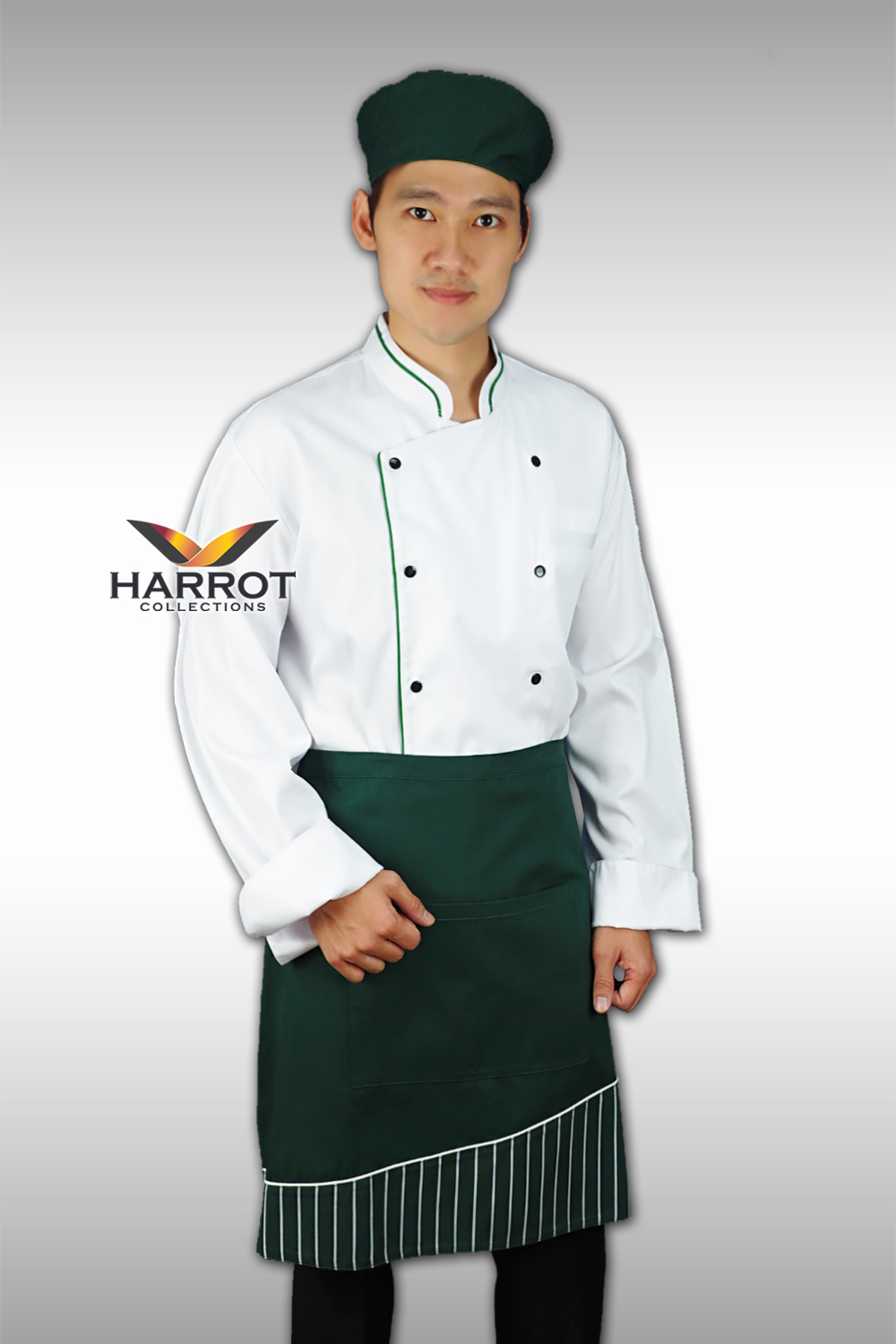 Green piping White Chef Jacket