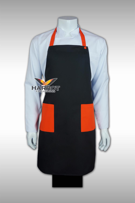 ผ้ากันเปื้อน เต็มตัว สีดำ-ส้ม