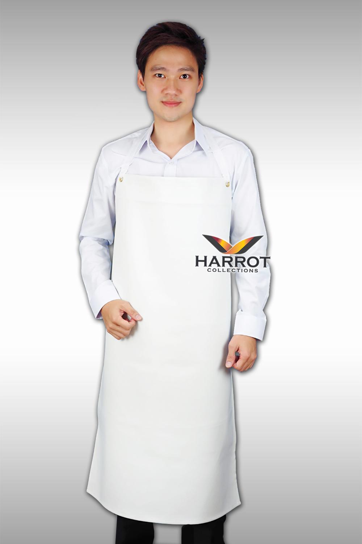 ผ้ากันเปื้อน หนังเทียม สีขาว แบบเต็มตัว