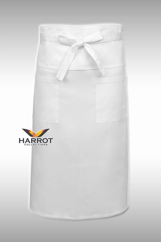 ผ้ากันเปื้อน ผ้ากันเปื้อนเชฟ ผ้ากันเปื้อนพ่อครัว ผ้ากันเปื้อนกุ๊ก ผ้ากันเปื้อนเสิร์ฟ ครึ่งยาว สีขาว มีลิ้น สายยาวผูกหน้า (FSA0261)