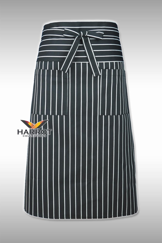 Black Chalk Stripe Half Long Apron (Long Tie)