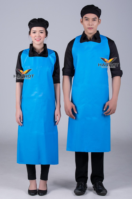 ผ้ากันเปื้อน ผ้ากันเปื้อนเชฟ ผ้ากันเปื้อนพ่อครัว ผ้ากันเปื้อนกุ๊ก ผ้ากันเปื้อนเสิร์ฟ พลาสติก PU สีฟ้า (FSA2012)