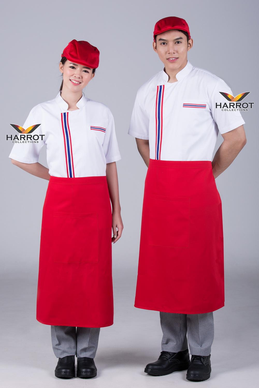 Thai flag pocket white short sleeve chef jacket