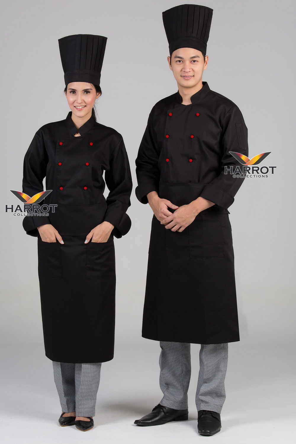 Red stud buttons black long sleeve chef jacket