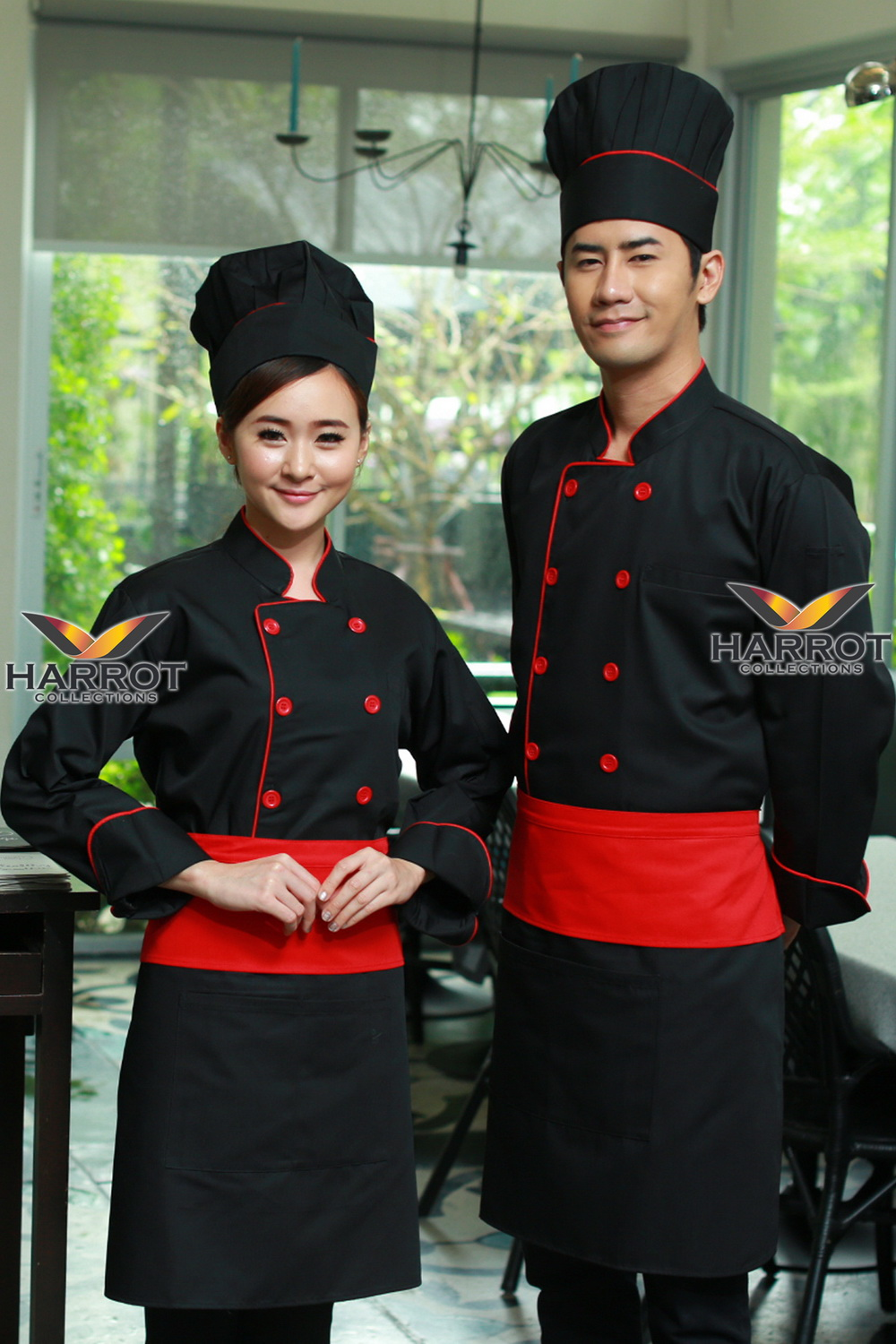 Red piping black long sleeve chef jacket