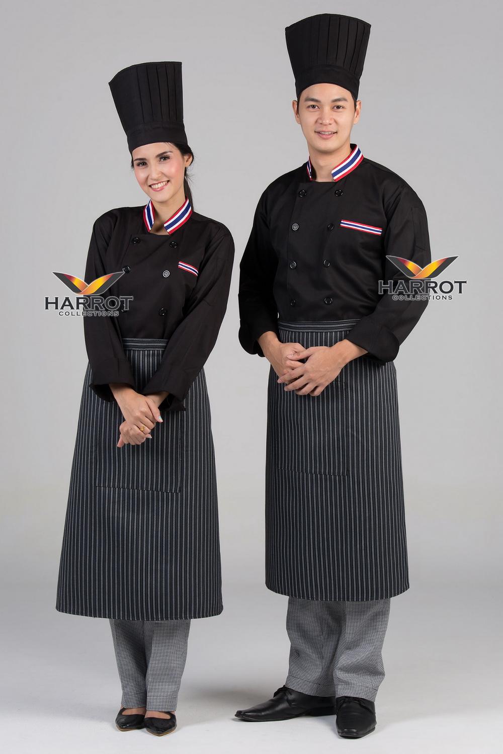 Thai flag collar Black long sleeve chef jacket