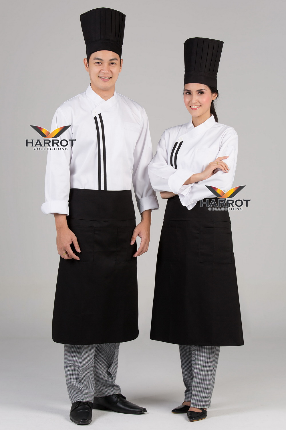 Black double stripe white long sleeve chef jacket
